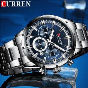 Image 2 - CURREN Мужские спортивные наручные часы, водонепроницаемые, хронограф, мужские часы, военные, лучший бренд, люкс, синий, нержавеющая сталь, мужские часы 8355