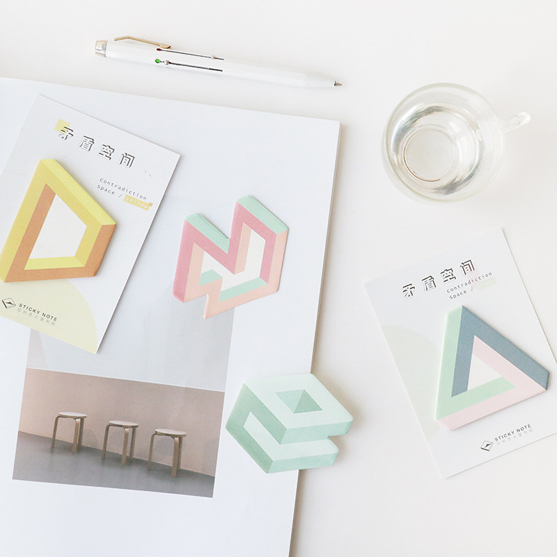 30 Sheets/Pack Geometric Stationery Planner Stickers Memo Sheets Pad Sticky Notes Decoration School Office Supply
