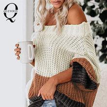 Женский свитер с открытыми плечами quevoon вязаный Повседневный