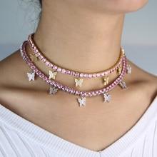 pink pinky girl women jewelry 5A cz tennis chain butterfly drop charm choker necklace Rock hip hop jewelry