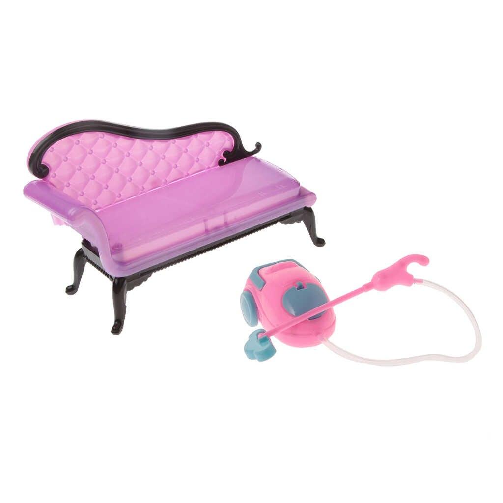 1/6 Skala Kursi Sofa Cleaner Set Furniture Ruang Keluarga Rumah Boneka Aksi Figur Aksesoris Anak-anak Berpura-pura Bermain