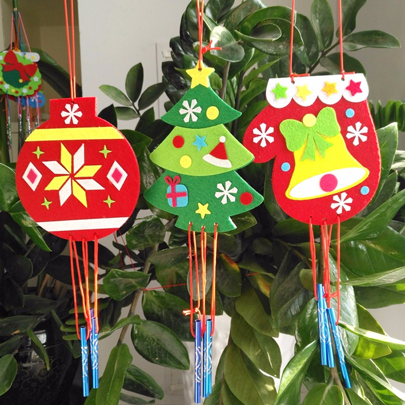 Kld Children DIY Wind Chime Handmad Wind Bell Kid DIY Puzzle Toy Kid Manual Craft Toys Cartoon Tree Hanging Decoration Christmas