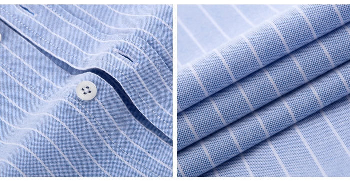 Hf30178e70e2a4342a5c280c4514600bdy - Men's Casual 100% Cotton Oxford Striped Shirt Single Patch Pocket Long Sleeve Standard-fit Comfortable Thick Button-down Shirts