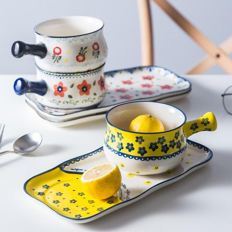 Vaisselle en céramique peinte à la main de style japonais | Maison plat occidental assiette à petit déjeuner pain dessert assiette à fruits, ensemble de bols