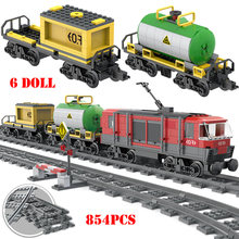 854PCS City Cargo Railway Train Building Blocks Compatible Legoings City Railway Train Technic Bricks Educational Toys For Child(China)