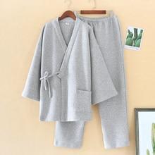 Pajamas-Set Sleepwear Japanese New-Fashion Nightgowns Modal Winter Cotton Thick V-Neck