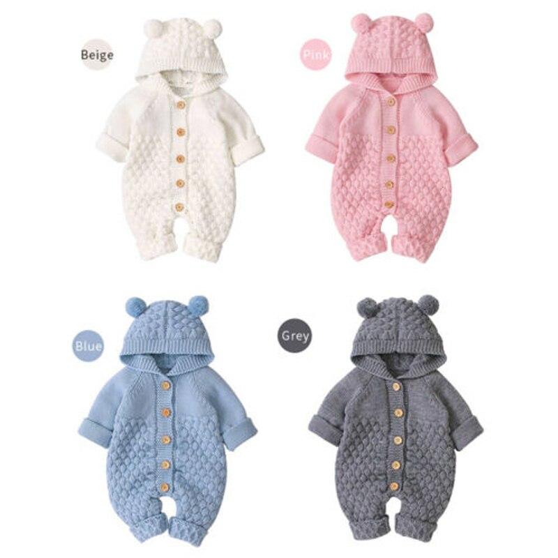 На возраст от 0 до 24 месяцев вязаный для новорожденных свитер Комбинезоны осень-зима мягкий теплый комбинезон для маленьких мальчиков и дев...