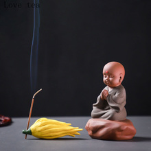 Zisha tea pet handmade ceramic little monk new Chinese kung fu tea set decoration creative Zen-like little monk exquisite statue