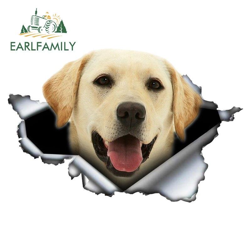 EARLFAMILY 13 سنتيمتر x 8.5 سنتيمتر كلب لابرادور المسترد ثلاثية الأبعاد ممزق سيارة ملصق التصميم الأصلي الفينيل سيارة الجذع الوفير ديكور ملصق مخصص
