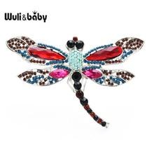 Wuli ve bebek büyük renkli kristal Dragonfly broş Pins 6 renkler moda kadınlar için yeni yıl takı hediye 2021
