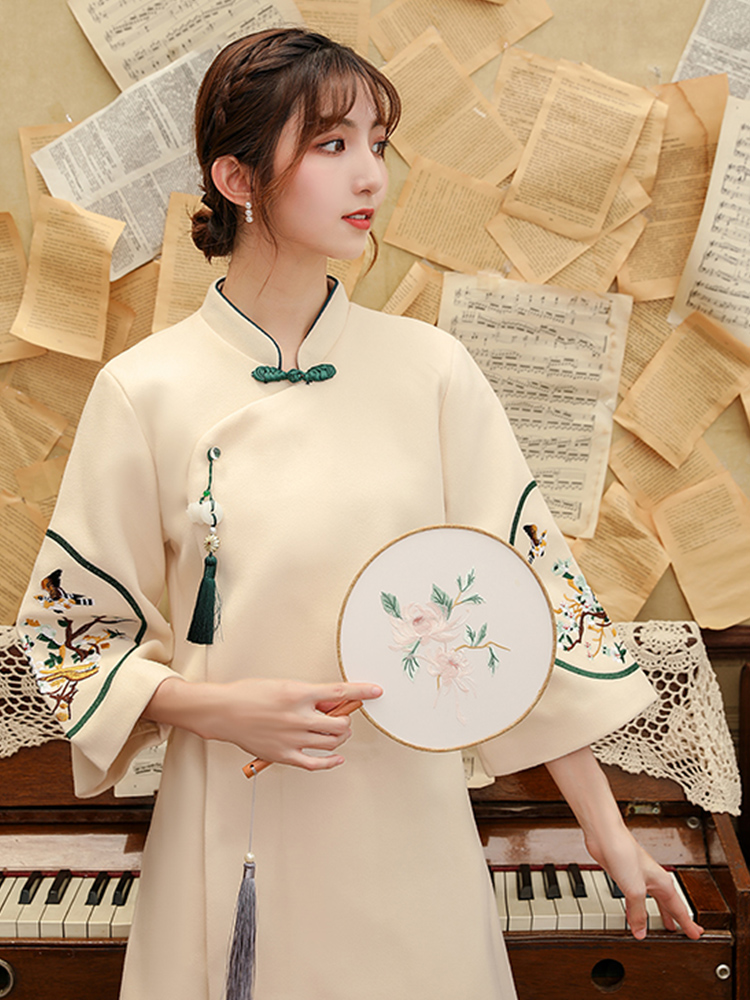 2020 vintage women woolen qipao chinese dress oriental floral embroidery cheongsam vestidos morden qipao female daily dress robe