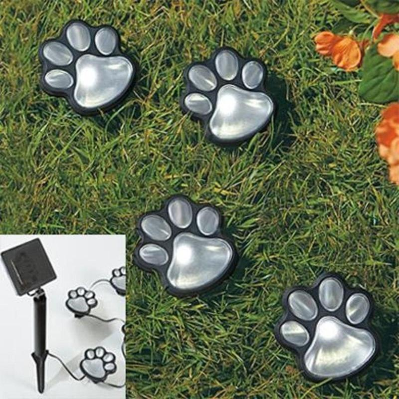 4 Solar Lights LED Solar Lamps Cat Animal Paw Print Garden Light Outdoors Lantern LED Path Decorative Lighting Footprints Lamp