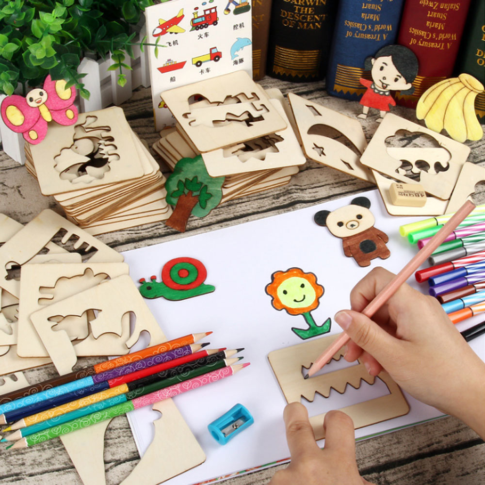 100Pcs Wooden Toys For Children Baby Drawing Toys Drawing Board Creativity Doodles Toy Boys Girls Early Learning Kids Gifts