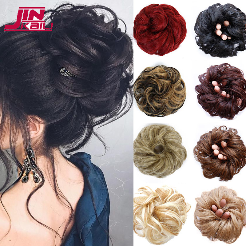 JINKAILI Synthetic Flexible Hair Curly  Bun Scrunchy Chignon Elastic Messy Wavy Scrunchies Wrap For Ponytail Extensions Women