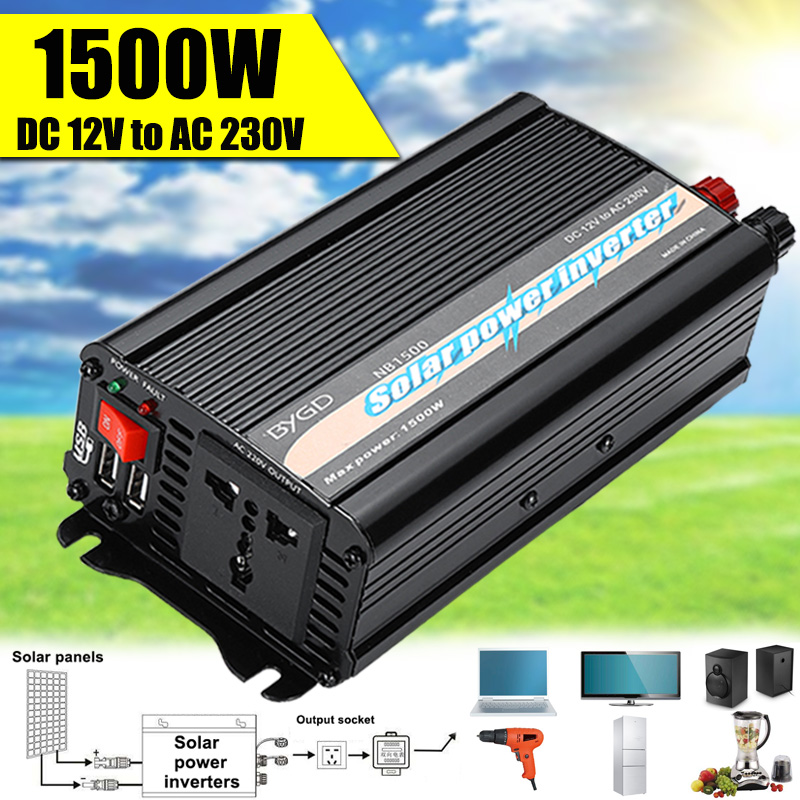 Dual USB 1500 Watts Power Inverter DC 12 V To AC 220 Volt Car Adapter Charge Converter Modified Sine Wave Transformer