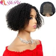 Brazilian Afro Kinky Curly Wig 4x4 Lace Closure Short Bob Wigs 100% Human Hair Short Pixie Cut Wigs Yepei Remy Hair