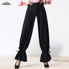 Trousers Pants Stage-Performance Latin Dance Practice Modern DOUBL Fashion Black Salsa