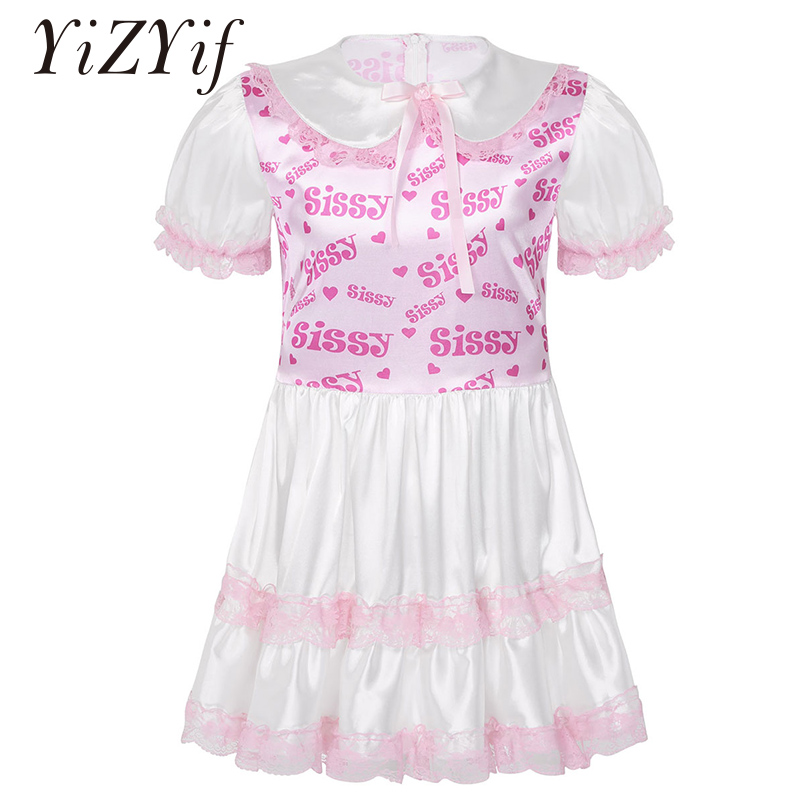 Men Dress Sissy Silky Satin Doll Collar Short Puff Sleeves Bodice Lace Trimmed Ruffled Dress Adult Baby Cross Dresser Costume