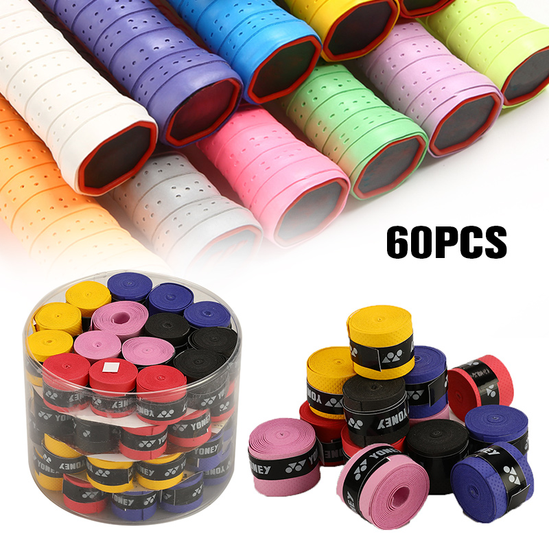 60 Pcs Colorful Anti-slip Tennis Overgrips Tape Sweatband Badminton Squash Racquet Tape Grips Racquet Accessories