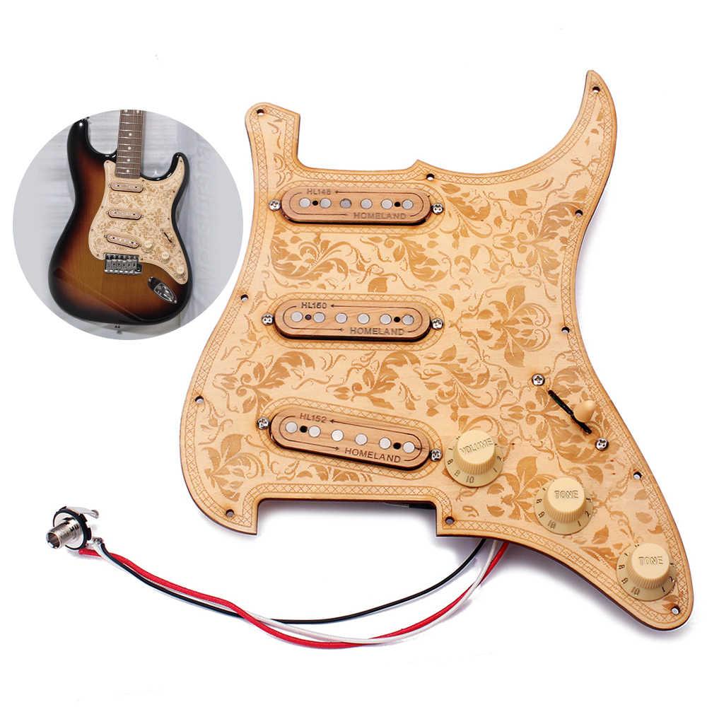 Loaded Prewired Chitarra Pickguard In Legno di Acero di Legno Piatto SSS Pickup con Decorativo Del Modello di Fiore per Chitarre Elettriche
