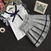 Spring Summer Child Clothes Baby suit kids set bow blouse+Tutu Skirt School Girls Skirts Princess Mini Pleated Skirt 2-7yrs