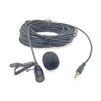 10m Extended Cable Lavalier Microphone Outdoor Live broadcasting Microphone Collar Clip Mic for Amplifier Mobile Phone