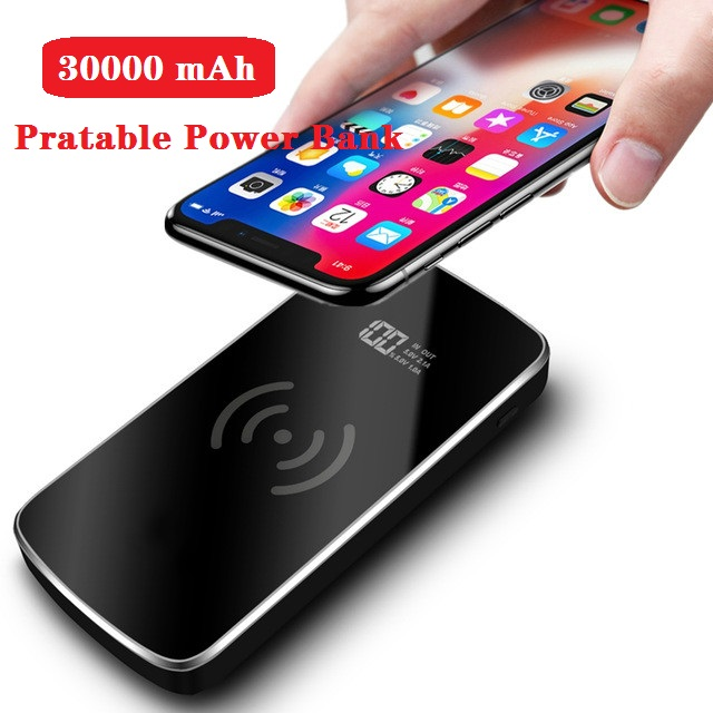 Qi Wireless Charger 2 USB Power Bank 30000mAh Portable Fast Powerbank Qi Charging Pad For IPhone 8 X XS Max XR Samsung S9 S8
