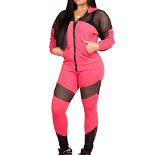 2019 Autumn Women Casual Ripped Hole Pullover Hoodie 2 Piece Jumpsuits Outfits Set Gym Patchwork Tracksuit Sportwear