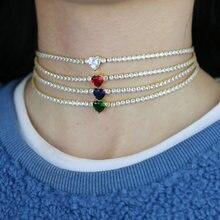 Цепочка чокер с кубическим цирконием 3 мм ожерелье радужным