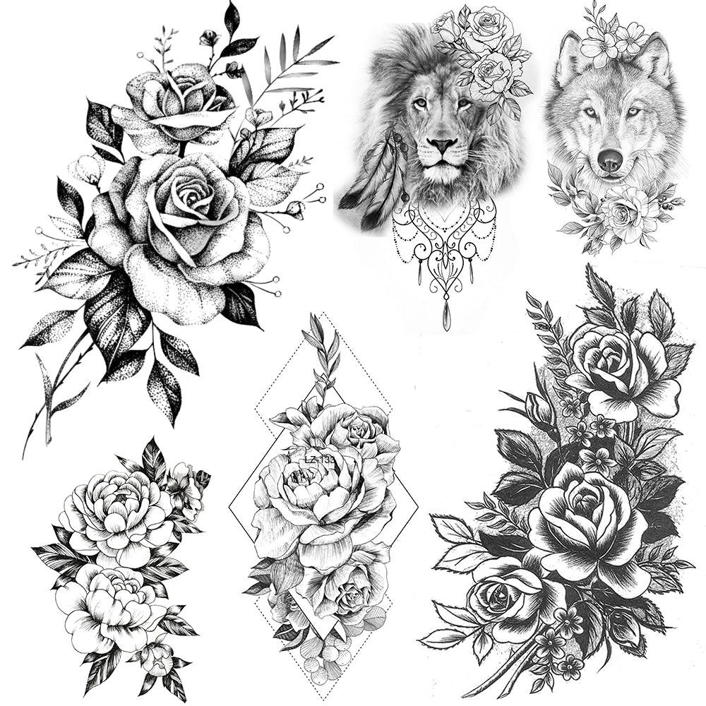 Sexy Bunch Of Flower Temporary Tattoos For Women Henna Lion Tatoos Adults Body Art Realistic 3D Fake Rose Bouquet Tattoo Sticker