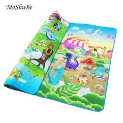 Детский игровой коврик 0,5 см толстый ползающий коврик с двойной поверхностью ковер для детей коврик для животных Автомобиль + динозавр