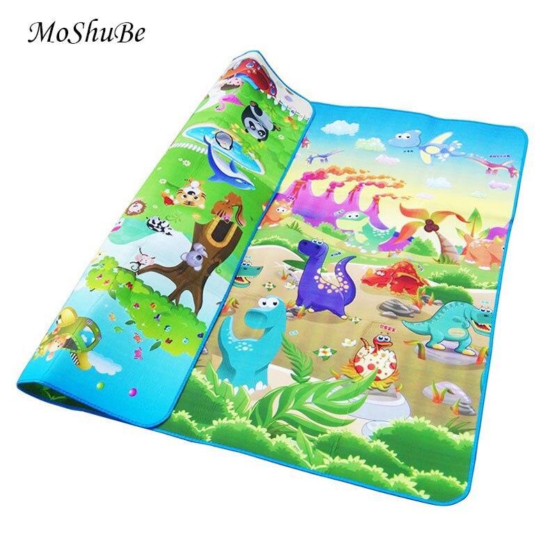 Baby Spielen Matte 0,5 cm Dicken Kriechende Matte Doppel Oberfläche Baby Teppich Teppich Tier Auto + Dinosaurier Entwicklung Matte für kinder Spiel Pad