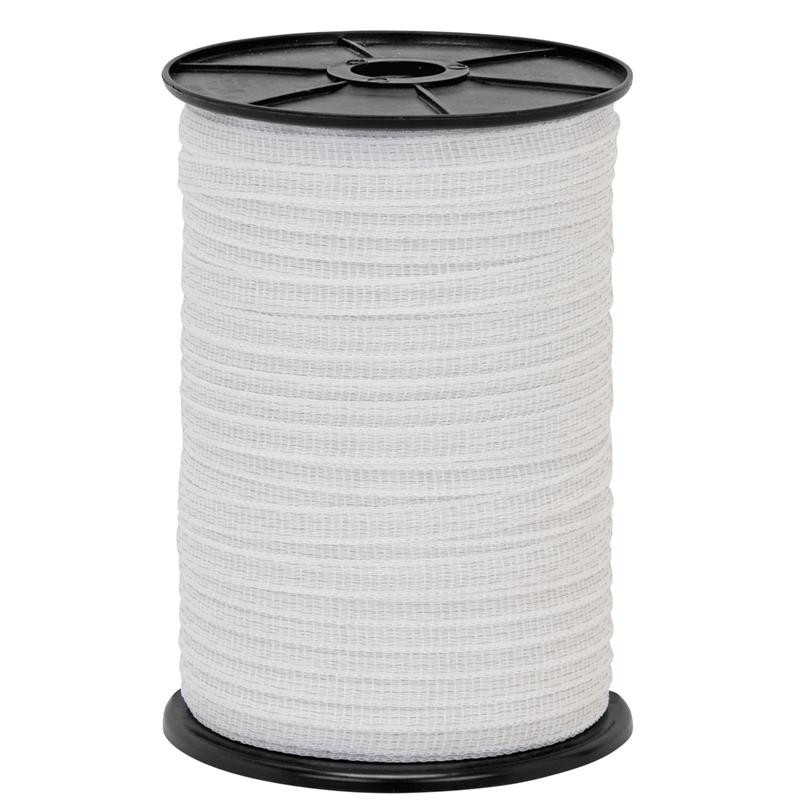 12mm 200 Meters Electric Fence Poly Tape With 5 Strands Of Stainless Steel Conductors White Color For Equine Cattle Fencing