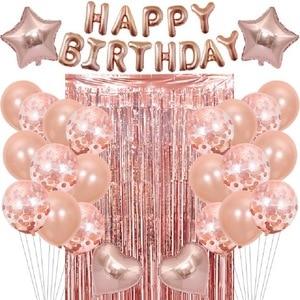 28 pçs rosa ouro conjunto de decoração de aniversário carta feliz aniversário balão chuva seda cortina decoração da festa de aniversário crianças látex balão