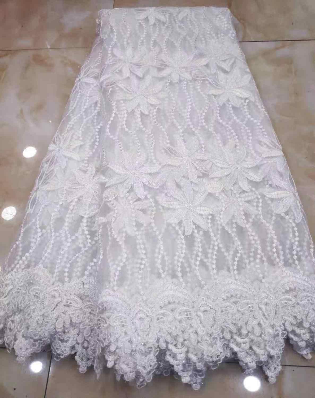 2019 de alta calidad francés nigeriano lentejuelas neto encaje, tul africano malla tejido de encaje con secuencia para vestido de fiesta 5 yardas/lote blanco