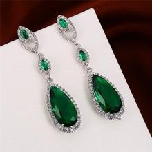 Luxury Female Crystal Green Drop Earrings Charm Geometric Silver Dangle For Women Vintage Rainbow Long Wedding