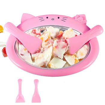 Mini maszyna do lodów Cartoon smażona maszyna do lodu smażona maszyna do jogurtu Pan domu mieszać maszyna do jogurtu z 2 sztuk smażone łopata do lodu tanie i dobre opinie astief other 500 ml CN (pochodzenie) ICM01 Chłodzenie powietrzem 500ml