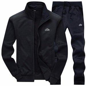 Image 3 - Nowe zestawy dla mężczyzn moda strój sportowy ciepły haft bluza z zamkiem + spodnie dresowe mężczyźni odzież 2 sztuk zestawy Slim dres 2020