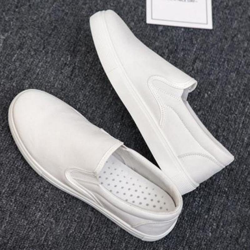 Summer Mens Canvas Shoes Casual Loafers Men Slip On Flats Breathable Comfortable Driving Shoes Flat Male Walking Sneakers White