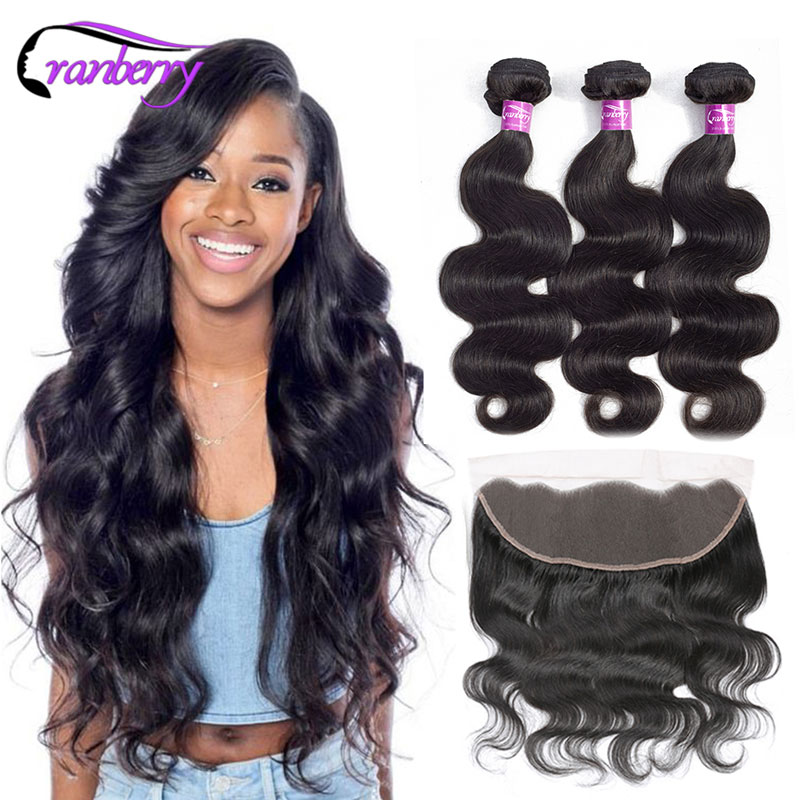 Brazilian Body Wave Bundles With Closure Frontal 13*4 Ear To Ear Lace Frontal Closure With Bundles 100% Remy Human Hair Weave