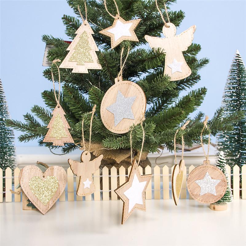 2pcs New Year 2020 Gift Natural Wooden Christmas Tree Pendants Christmas Ornaments Decorations for Home Adornos De Navidad 2019 22