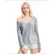 Women Sexy Off Shoulder Split Knitted Sweater Autumn Winter Pullovers Knitwear 2019 Jumper Pull  Female