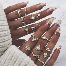16 PCS/Set Vintage Star Crystal Drop shape Ring Set Crown Opal Stone Knuckle for Women Boho Jewelry Gift Accessory