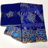 2019 New arrival Stone african Bazin riche fabric with embroidery lace / bazin riche dress material Nigerian 12L122725