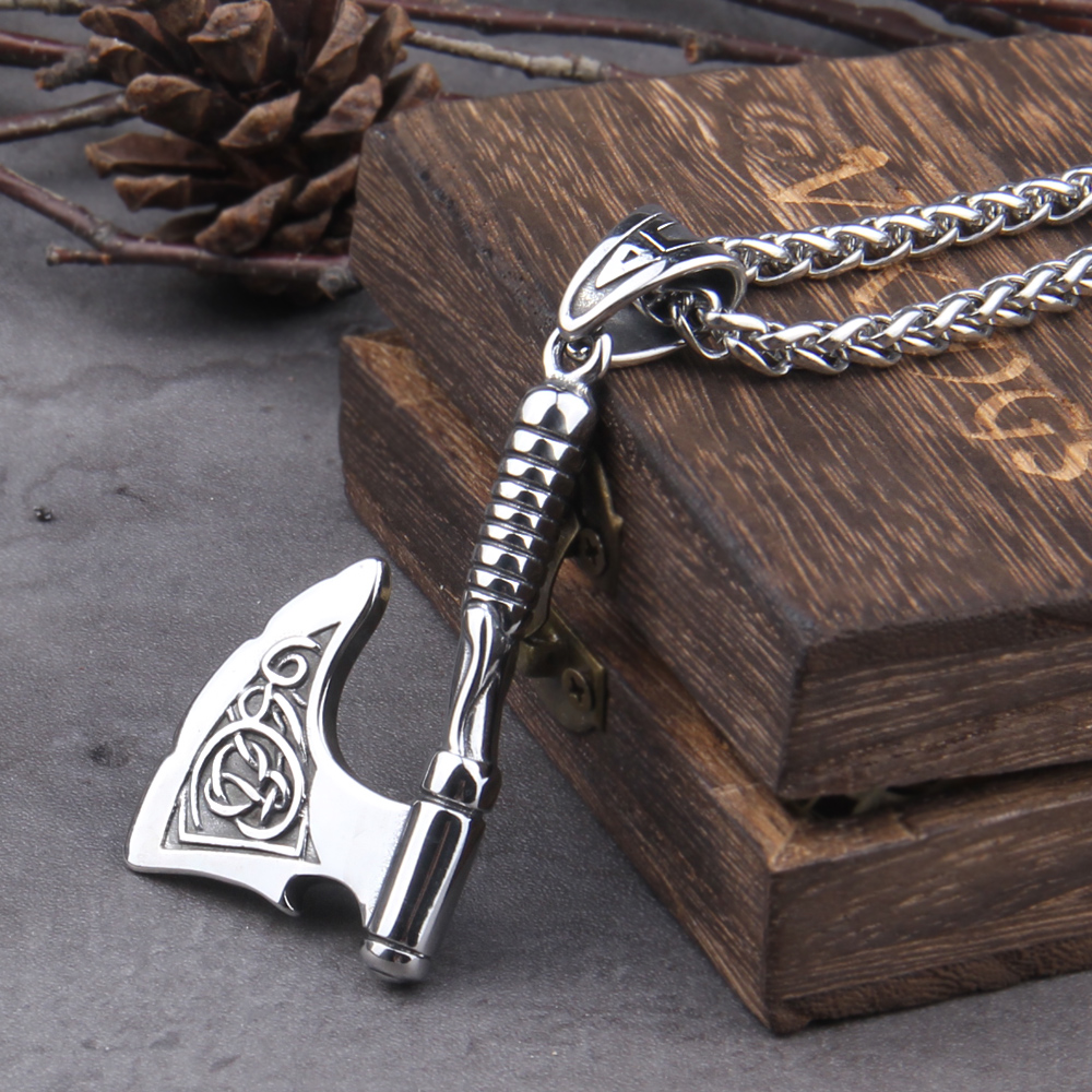 Stainless Steel Viking Axe key bottle opener viking necklace with wooden box as gift|Pendant Necklaces|   - AliExpress