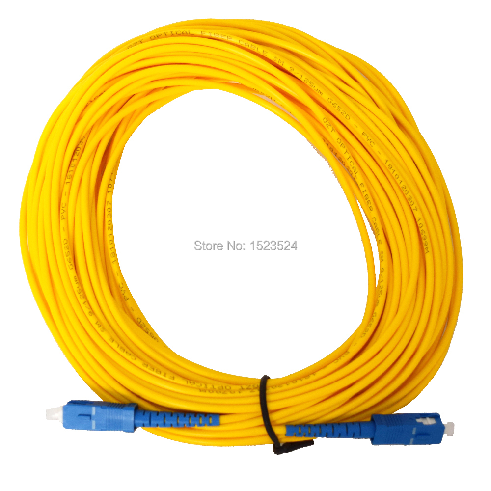 Free Shipping SM SX 3mm 20M 9/125um Fiber Optic Jumper Cable SC/UPC-SC/UPC Fiber Optic Patch Cord