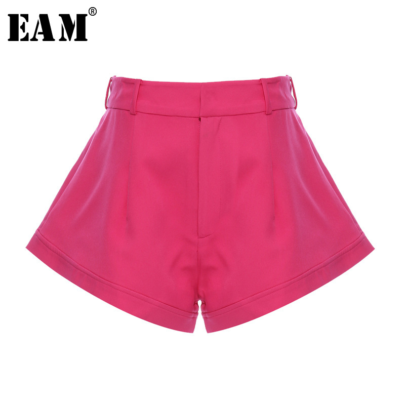 [EAM] Women Rose Red Brief Temperament Wide Leg Shorts New High Waist Loose Fit  Trousers Fashion Tide Spring Summer 2020 1T663