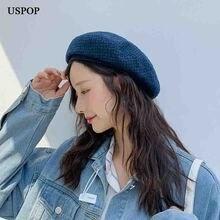 USPOP 2019 Winter hats women wool berets British vintage plaid beret tweed painter cap