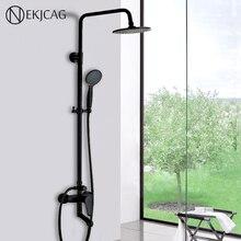 """שחור אמבטיה מקלחת סט קיר רכוב 8 """"מקלחת גשם מיקסר ברז ברז 3 פונקציות מיקסר שסתום ידית אחת עגול ראש"""