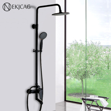 "Bathroom Black Shower Set Wall Mounted 8"" Rainfall Shower Mixer Tap Faucet 3 functions Mixer Valve Single Handle Round Head"